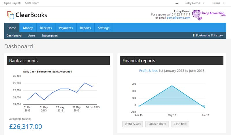 Clearbook simple accounting software dashboard