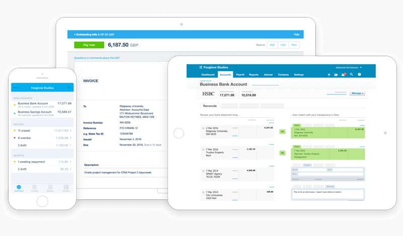 Xero accounting software dashboard presented on desktop, tablet and mobile screens.