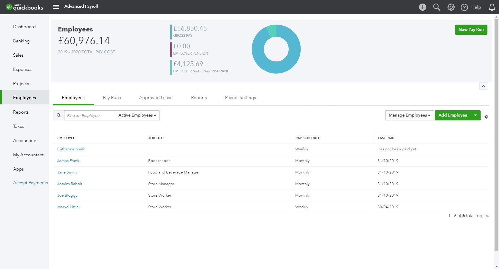 QuickBooks UK payroll dashboard